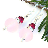 Frosted Pink Lampwork Earrings, Ruby Swarovski Handmade Spring Jewelry
