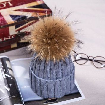 ICIKJG2 15cm Pom Poms Winter Hat For Women Girl 's Real Raccoon Ball Wool Hats Thick Female Knitted Cotton Beanies Cap