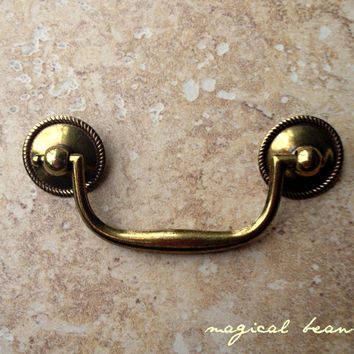 Brass Drop Pull with Beaded Rosettes by Keeler Brass Co / Restoration Hardware for Furiture, Cabinets & Decor / Gold Handles
