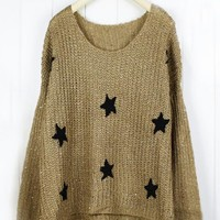 Round Neck Coffee Sweater with Stars$39.00