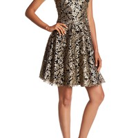 Vera Wang | Sleeveless Metallic Lace Gown | Nordstrom Rack