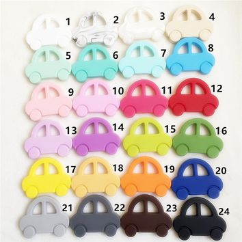 Chenkai 5PCS BPA Free DIY Silicone Car Teether Chewable Pendant Nursing Teething Necklace Baby Pacifier Dummy Toy Gfit Teether