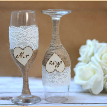 Wedding Glasses Champagne Flutes Burlap Glasses Rustic Toasting Glasses