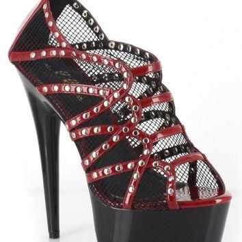 Ellie Shoes Casey Studded Peep Toe Mesh Platform Pump (7,Red)