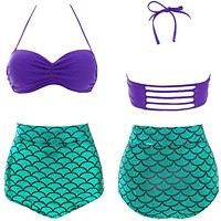 Hot Mermaid Bikini Set; Vintage High Waist
