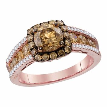 14kt Rose Gold Womens Round Cognac-brown Color Enhanced Diamond Solitaire Bridal Wedding Engagement Ring 2-1/4 Cttw