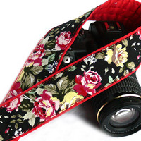 Camera Strap with roses. DSLR Camera Strap. Black Red Camera Strap. Women Accessories