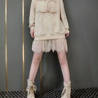 """""""Chanel"""" Women Temperament Casual Fashion Sequin Letter Lace Stitching Long Sleeve Sweater Dress"""