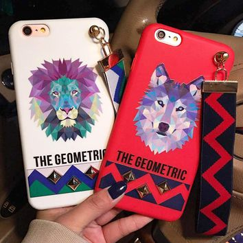 For iPhone 6 Case Silicon Soft Cool Punk Style Rivet Strap Animals Phone Cases Cover For iPhone 6s 7 Plus