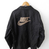 CLEARANCE SALE 25% Vintage 90's NIKE Swoosh Big Logo Streetwear Windbreaker Sweater Black Zipper Jacket M