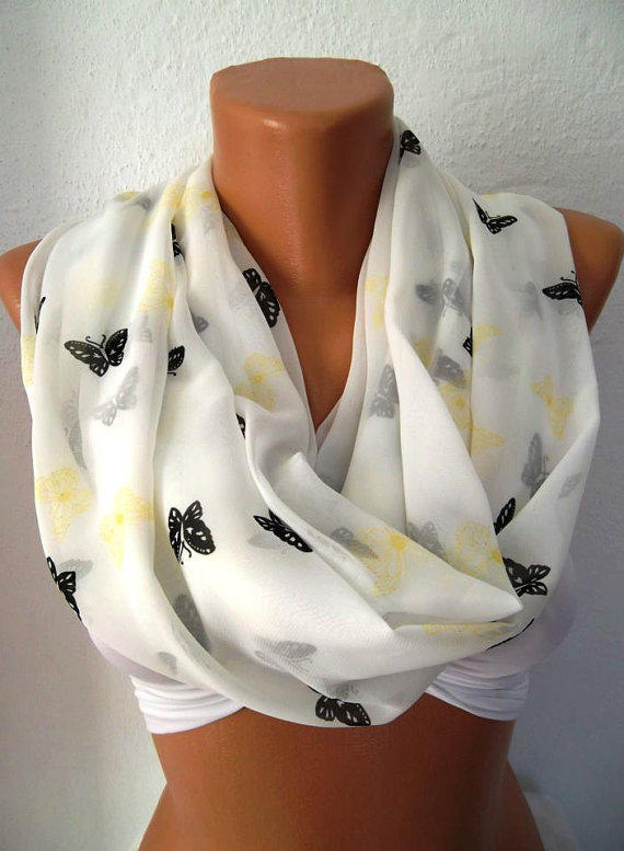 Butterfly - Infinity Scarf Loop Scarf Circle Scarf - Elegant - It made with good quality CHIFFON  fabric - Super Loop