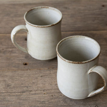 White Ceramic Coffee Mug / Pottery Coffee Mug / Ceramics