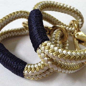 Gold and White Nautical Rope Bracelet with Navy Wrap and a Bronze clasp