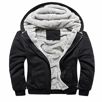 2017 Hot Sale Men's Hooded Casual Hoodies Clothing Wool Liner Mens Winter Thickened Warm Coat Male M-4XL Pure color