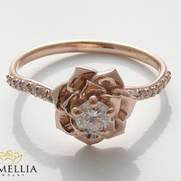 14K Rose Gold Diamond Engagement Ring by Camellia Jewelry Rose Gold Flower Ring Flower Engagement Ring