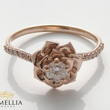 14K Rose Gold Diamond Engagement Ring by from camellia jewelry