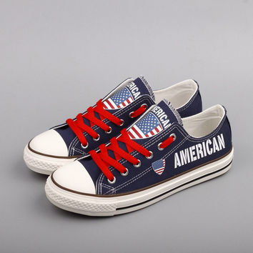American Flag Pride Low Top Canvas Shoes Custom Printed Sneakers