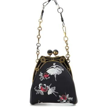 Jacquard embellished shoulder bag