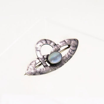 Antique Brooch Art Nouveau Brooch Jugendstil Sterling Silver Moonstone