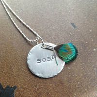 Custom Hand Stamped Aluminum Circle Necklace with Peacock Feather- Pick Your Own Phrase and Font