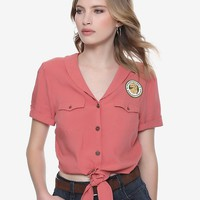 Jurassic Park Ellie Tie Front Girls Crop Button-Up Woven