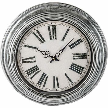 "20"" Antique Silver Round Wall Clock"