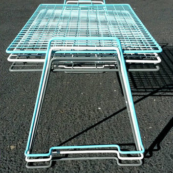 Wire Stacking Tables Vintage Metal Nesting Table Short Plant Stand Kids Bench White Gray & Tiffany Blue Set of 3 Indoor Outdoor Shelf Garden