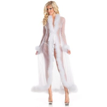 Be Wicked BW1650WT Marabou Robe
