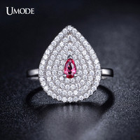 UMODE Micro Cubic Zirconia Pave Water Drop Shaped with Central Pink Stone Genuine 925 Sterling Silver Ring Jewelry YR0026A