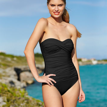 La Blanca Ruched Bandeau One-Piece Swimsuit