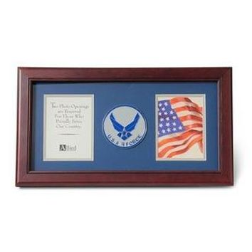Air Force Medallion Double Picture Frame 4x6 Hand Made By Veterans