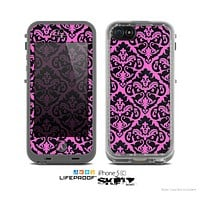 The Pink & Black Delicate Pattern Skin for the Apple iPhone 5c LifeProof Case