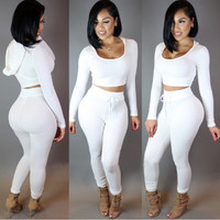 White Hooded Crop Top High Waist Pants Set