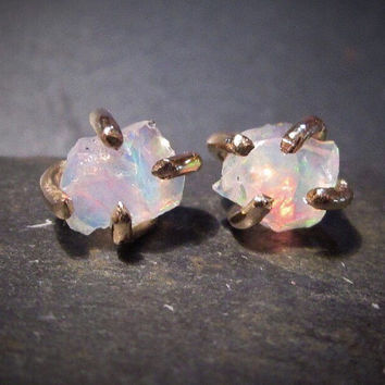 Opal Studs, Raw Opal, Natural Opal earrings, 14k Gold, Unique Opal earrings, Sterling Silver or Gold