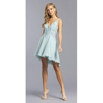 Embroidered V-Neck Homecoming Short Dress Powder Blue