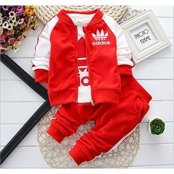 2018 Europe and The United States Boys Girls In The Spring Autumn Alphabet Stripes Printed Cotton Jersey Baseball 3PC