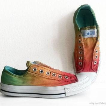 LMFUG7 Red, orange and green ombre dip dye All Stars, tricolour slip-on Converse, upcycled vi