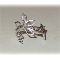 Twig Vine Ring Matte Silver Midi Pinky Finger Ring Adjustable Floral Organic Leaf Branch Design