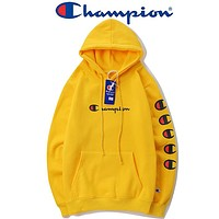 Champion 2018 autumn and winter models sketch large C embroidery string hooded sweater F-A-KSFZ Yellow