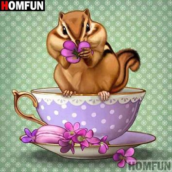 5D Diamond Painting Tea Cup Chipmunk Kit
