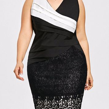 Gamiss Women Two Tone Bodycon Dress Plus Size Sleeveless Color Block Pleated Party Dresses Sexy V Neck Lace Bandage Vestidos