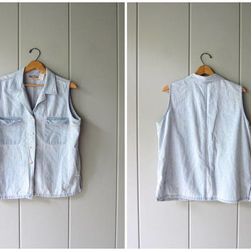 80s Sleeveless Jean Shirt Faded Worn In Denim Button Up Shirt Light Blue Slouchy 90s Boho Grunge Tank Chambray Shirt Vintage Women's Large