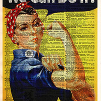 Rosie the Riveter, We Can Do It, WPA poster, vintage inspirational wall art, dictionary page art print