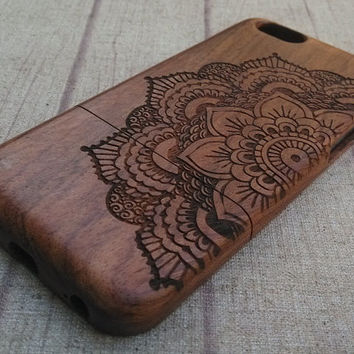Wood iPhone case, 1/2 view mandala, iphone 6/plus case, iphone 5 case, iphone 5c case,iphone 4 cse, wood case, iphone case, gift, accessory