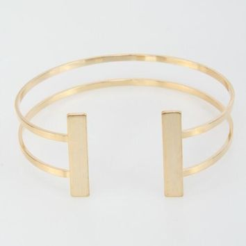 Rectangle Bar Brass Cuff Bracelet