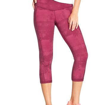 """Old Navy Womens Active Patterned Compression Capris 20"""" Size M - Into the fuchsia poly"""