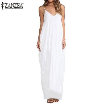 Zanzea Fashion Vestidos 2017 Summer Women Sexy V Neck Sleeveless Beach Dresses Ladies Casual Loose Long Maxi Dress Plus Size