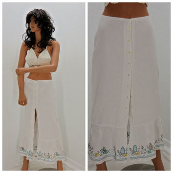 White linen maxi skirt, size S, long linen boho skirt, 80's embroidered linen skirt, boho, beach, hippie skirt, Sunny Boho