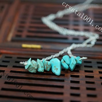 Turquoise Necklace  Turquoise Chips Bar Choker  Turquoise Earrings  Turquoise Jewelry