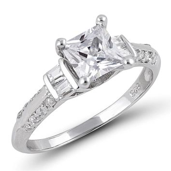 Sterling Silver 1 Carat Princess Cut with Baguette and Round Cubic Zirconia Accents Engagement Ring